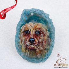HAND PAINTED DOG ONXY AGATE SLICE GEMSTONE NECKLACE PENDANT ZL80 19713 #ZL #PENDANT