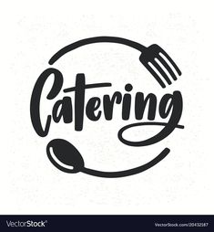 Catering company logotype with lettering written with calligraphic cursive font decorated with cutlery or kitchenware. Food supply service logo isolated on white background. Cake Logo Design, Food Logo Design, Graphisches Design, Modern Logo Design, Design Ideas, Catering Logo, Catering Companies, Food Font, Logo Food