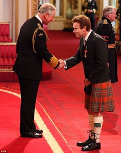 Actor Ewan McGregor is awarded an OBE, for services to Drama and to Charity, by the Prince of Wales during an Investiture ceremony at Buckingham Palace in central London