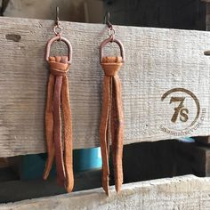 "Casco Earrings - Cognac leather tie earrings. The softest elk leather fringe. Copper D-ring.Hook style. Lightweight.5"" long. Handcrafted in Texas by Double J."