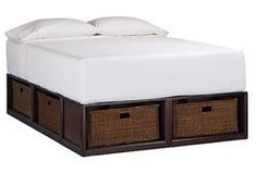 Pottery Barn Stratton Bed with Baskets, ample kitty hiding, storage, some plywood, no info about sustainability Home Bedroom, Bedroom Furniture, Bedrooms, Bedroom Ideas, Bed Ideas, Girls Bedroom, Diy Furniture, College Furniture, Master Bedroom