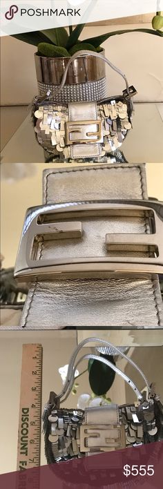 Selling this Fendi Italy Silver Paillette Baguette Mini Bag  on Poshmark! My username is: fashiongirldc. #shopmycloset #poshmark #fashion #shopping #style #forsale #Fendi #Handbags