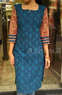 Printed Soft Cotton Kurta With Kalamkari Sleeve-Code:0409151 Price INR:790/- All sizes available. Free shipping to all courier destinations in India. Online payment through PayUMoney / PayPal