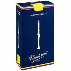 Vandoren Traditional Bb Clarinet Reeds, Box of 10, Strength 2-1/2, Multicolor