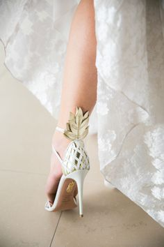 Palm tree pineapple design wedding shoes