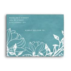 Color Editable Background Floral Wedding Monogram Envelope