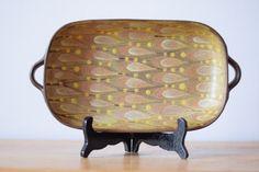 Dybdahl Denmark - big tray - size 5 - leaf decor brown ochre - midcentury - collectible