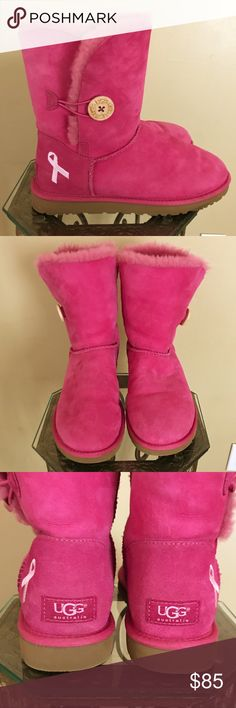 Breast Cancer Awareness Uggs Hot pink Uggs with white ribbon. In excellent condition. UGG Shoes Ankle Boots & Booties
