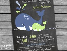 Navy Lime Whales Baby Shower Invitation by KansasCardstock on Etsy
