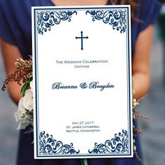 Catholic Wedding Program Faith Navy Blue 85 X 11 Fold Worddoc Template Instant Download Any Color Make Your Own Programs DIY You Print