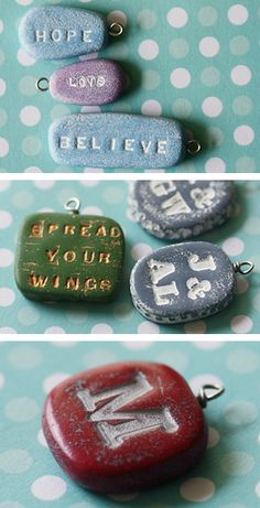 """engraved stone lettering words"" - this is a great tutorial on stamping (rubber stamps and other methods as well) into polymer clay. Tutorial covers a LOT of basic polymer clay techniques, great for beginners and will give you a good start working with the medium. ~TA"