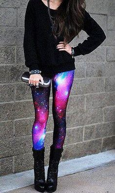Galaxy tights from Black Milk Clothing -- I don't particularly like the rest of this outfit, but these leggings are amazing. A large collection of photos of beautiful girls on the beach, in the car, in the countryside. Look more. Galaxy Tights, Galaxy Pants, Galaxy Leggings Outfit, Space Leggings, Purple Leggings, Black Milk Clothing, Legging Outfits, Teen Fashion, Fashion Outfits