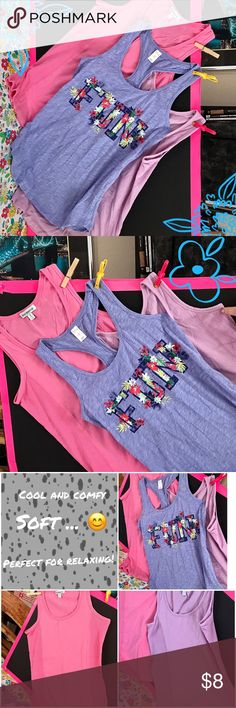 "Bundle of SM Comfy Tank Tops 😊 Bundle of super soft tank tops - One racerback, Ash Blue ""Fun""  Brand ""Flirtatude""; One lavender/One Pink ""Insomniax"" tanks with rib sides.  Pre-owned - Excellent Condition:  No holes or rips. No balling or piling.  Smoke-Free / Pet Friendly home.   😊Thank you for browsing my closet and have a good day!❤  ***************************************************** 💖 bundle & save 🌀 offers welcome 📦 fast shipping Varous  Tops Tank Tops"