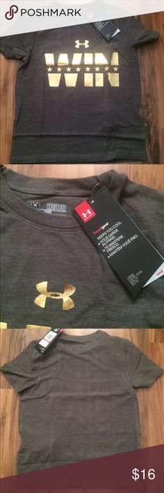 Youth Boys XS Under Armour Win T-Shirt, NWT Youth Boys XS Under Armour Win T-Shirt, NWT, Charcoal Gray and Gold Under Armour Shirts & Tops Tees - Short Sleeve