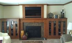 craftsman mantle | Stone Ridge Cabinets: Craftsman Oak Fireplace Mantel and Entertainment ...