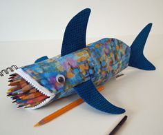 Pencil Case - Shark Bag - Zipper Pouch - Gift: Impressionistic Shark Bite