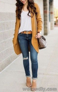 Outfits casual 25 Best Women Winter Casual Outfits With Cardigan 25 besten Frauen Winter Casual Outfits mit Strickjacke Outfit Jeans, Cardigan Outfits, Mustard Cardigan Outfit, Winter Cardigan Outfit, Cardigan Fashion, Winter Outfits Women, Casual Winter Outfits, Everyday Casual Outfits, Summer Outfits
