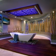Ultra Modern Bathroom with Blue Skylight #Bathroom #Renovation and #Ideas