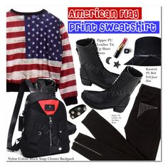 """""""American Flag Print Sweatshirt"""" by oshint ❤ liked on Polyvore featuring Bettina Liano, Chanel and Versace"""