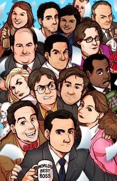 Drawing of the whole cast of The Office. Featuring Michael Scott, Dwight Schrute, Jim Halpert and the rest of the gang! The Office Characters, Cartoon Characters, Office Jokes, The Office Humor, Funny Office Memes, The Office Show, The Office Serie, Office Movie, Office Fan