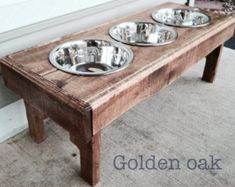 Reclaimed rustic pallet furniture dog bowl stand pet by Kustomwood