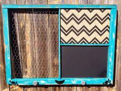 Reclaimed Old Window - XL Shabby Chic Turquoise - Black Chevron Burlap Cork Board - Chalkboard -Chicken Wire Memo Board -Farmhouse Decor Antique Windows, Old Windows, Vintage Windows, Diy Farmhouse Table, Farmhouse Chic, Pallet Barn, Barn Wood, Old Window Frames, Window Ideas