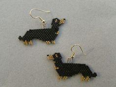 Beaded Dachshund Earrings in Black and Tan by DsBeadedCrochetedEtc, $20.00