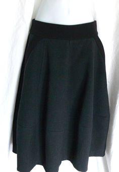 H&M Circle Style Skirt Heavy Full Gray Black Trim Pockets Sz 8 Zipper Closure #HM #FullSkirt
