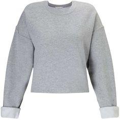 Miss Selfridge Grey Cropped Sweatshirt (€31) ❤ liked on Polyvore featuring tops, hoodies, sweatshirts, shirts, sweaters, grey, cropped sweatshirt, long sleeve sweatshirt, grey top and grey sweatshirt