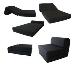 "Black Sleeper Chair Folding Foam Bed Sized 6"" Thick X 32"" Wide X 70"" Long, Studio Guest Foldable Chair Beds, Foam Sofa, Couch..."