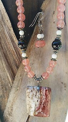 Mookaite jasper quartz pendant necklace & earring set
