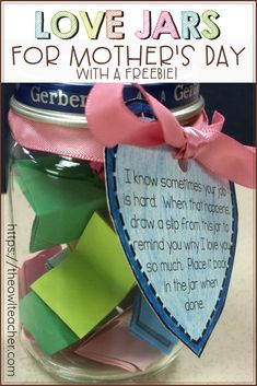 This DIY craft is perfect for students celebrating any holiday like Mother's Day in the elementary classroom! It engages students and creates a beautiful keepsake craft! Upper Elementary Resources, Love Jar, Nonfiction Text Features, Keepsake Crafts, Teacher Lesson Plans, Teaching Science, Teaching Tips, Student Motivation, Mother's Day Diy
