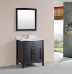 adelina 30 inch contemporary vessel sink bathroom vanity, espresso
