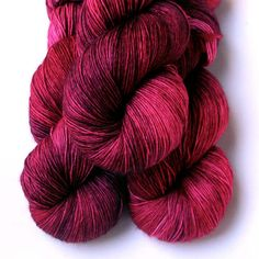 Vera Fingering Single Ply Yarn  Ruby 500 yards by JulieSpins