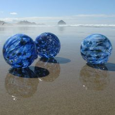 Blown Glass Floats on the Oregon Coast...you can find these anytime. They hide them on the beach (very well) and they are yours when you find them. Best PR I ever heard of :) I have a beautiful one with cobalt as the main colour (though to be honest, I didn't find mine the beach--though someday I hope to get one that way; it would be really cool!) that I bought in the glass factory there