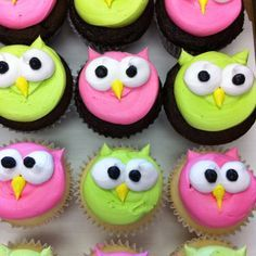 Owl cupcakes   Easy owl cupcakes   Pink & Lime green colors for a girls birthday party so cute!