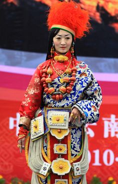 Tibetan Khampa Beauty in Ceremonial Robes and Ornaments   Flickr - Photo Sharing!