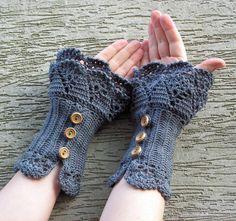 Urban Walk  crocheted layered wrist warmers by hypericumfragile,