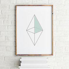 Geometric art print poster Octahedron figure / Printable Digital Art Scandinavian art / Nordic Art / Wall Decor / digital print illustration
