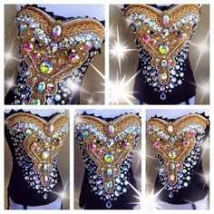 Gorgeous Black & Gold corset By: Electric Laundry Edm Festival, Festival Fashion, Electric Daisy Carnival, Mardi Gras Attire, Gold Corset, Overbust Corset, Rave Corset, Wedding Corset, Fantasy Bra