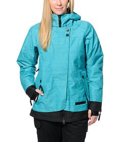 A technical monster that will elevate your rides with a 686 Reserved Avalon turquoise 10K girls 2014 snowboard jacket. Stay warm in a thermal rating 8, a stowable powderskirt, and a 3-in-1 side stretch sherpa lined brimmed hood giving the 686 Reserved Ava