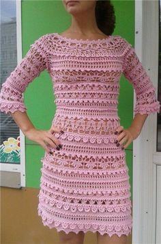 Crochet beautiful and feminine pink dress. Free patterns for crochet pink dress