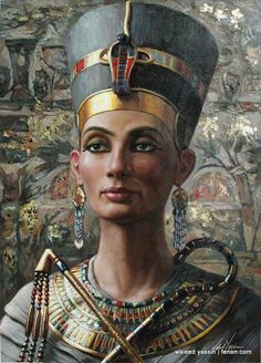 This is an artist's interpretation of Nefertiti Egypt Queen done in the This is obviously not a primary work, but it shows very clearly the cat eye the Egyptians are famous for and stays true to the look of Ancient Egyptian paintings and style. Ancient Egypt Art, Ancient Egyptian Jewelry, Egyptian Art, Ancient History, European History, Ancient Artifacts, Ancient Aliens, Ancient Greece, Art History