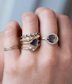 18k Blue Sapphire Diamond Halo Ring - Audry Rose