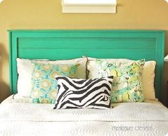 "DIY Headboard---cuuuute  ""If you need to build this for a king, the conversion is pretty easy.  A king is 16 inches wider than a queen. On any dimensions that run horizontally, add 16 inches"""