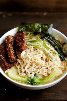 Sesame Ramen with Roasted Tempeh and Seaweed - Vegan