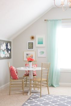 Bright and beachy home office. Pops of coral, mint, gold and grey to keep things fresh and bright. Home Office Design, Home Office Decor, House Design, Office Decorations, Mint Curtains, Sheer Curtains, Boho Home, Décor Boho, Style Vintage