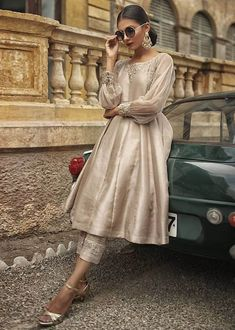 Color: Gold Dust Description: This is a 3 piece outfit. Delivery Timeframe: 4 to 5 weeks Size Chart: Dress Indian Style, Indian Fashion Dresses, Indian Designer Outfits, Indian Outfits, Fashion Outfits, Indian Fashion Modern, Abaya Style, French Fashion, Women's Fashion