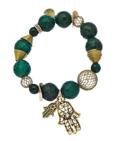 Bee Charming Double Hamsa Malachite Bracelet