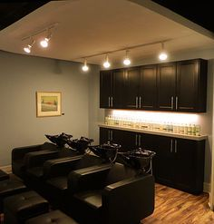 salon lighting ideas. towel cabinets and lighting can this be done on a smaller scale salon ideas